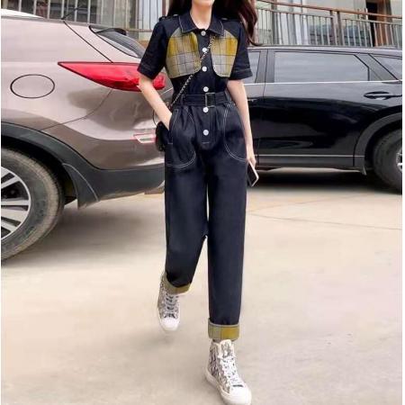 YF62716# 夏装新款连身裤长款连体衣女装潮牛仔套装工装阔腿连体裤女