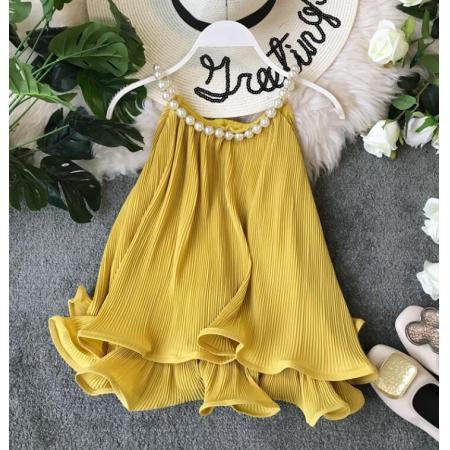 YF65112# 挂脖式珍珠装饰背心卷边雪纺衫荷叶边下摆宽松娃娃衫无袖上衣女