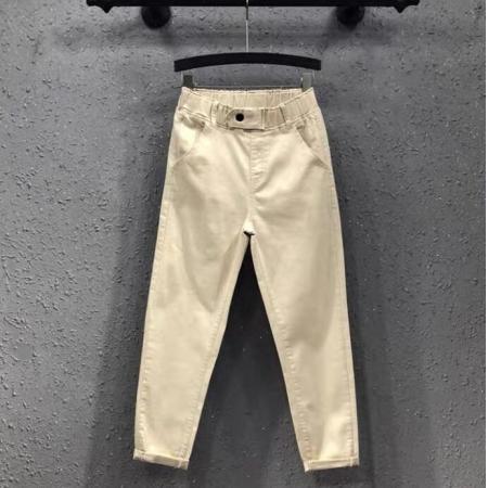 CX6311# 最便宜服装批发 新款白色牛仔裤女夏季薄款高腰显瘦松紧腰时尚九分休闲哈伦裤