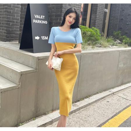 YF66826# 韩模夏装新款拼接撞色修身显瘦针织连衣裙女包臀短裙潮