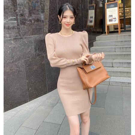 YF66827# 韩模秋冬女韩版气质修身泡泡袖套头针织百搭毛衣包臀裙