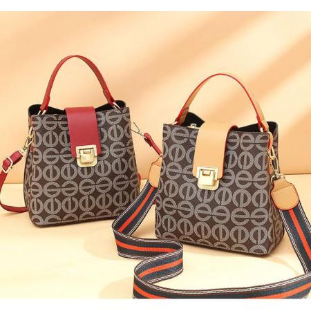 YF69517# 水桶包包女时尚宽带斜挎包新款定制印花图案单肩手提包批发 包包批发女包货源