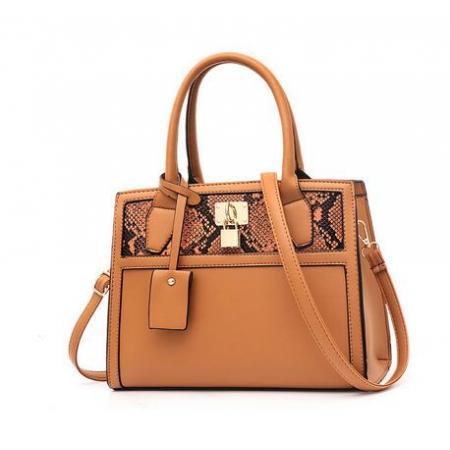 YF69528# 跨境女包新款时尚 ins蛇皮纹拼接大容量手提包单肩斜挎包bags 包包批发女包货源