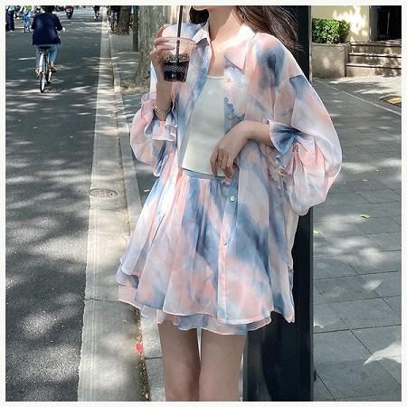 YF69692# 赫本风洋气套装女夏季大码显瘦超仙长袖防晒衬衫半身裙轻熟三件套 服装批发女装直播货源