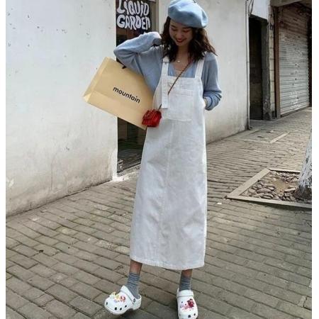 YF71184# 背带裙女初秋网红减龄牛仔背带裙女春秋新款韩版长款A字吊带