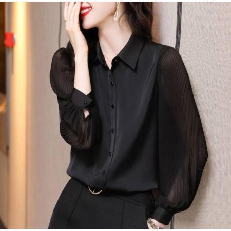 YF76014# 真实码数衬衫女士春秋设计感小众泡泡袖衬衣