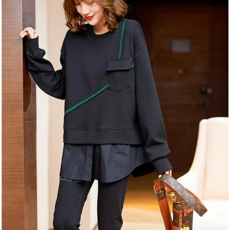 YF76346# 假两件卫衣女秋季欧洲站宽松长袖上衣新款时尚减龄衣服 服装批发女装直播货源